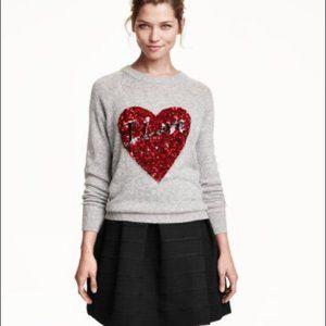 3/30$ H&M Grey Red Sequins Heart Alpaca Sweater